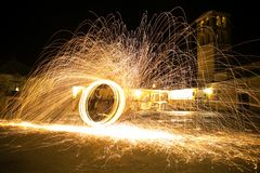Staalwol bij nacht Stock Afbeelding