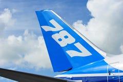 Staart van Boeing 787 Dreamliner-vliegtuigen in Singapore Airshow 2012 Stock Foto's