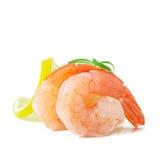 Staart van garnalen met verse citroen en rozemarijn Royalty-vrije Stock Fotografie