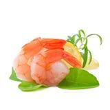 Staart van garnalen met verse citroen en rozemarijn Stock Afbeeldingen