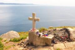 Staarten in de vuurtoren bij kaap Finisterre, Galicië, Spanje worden gevestigd dat stock foto