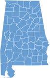 Staat Alabamakarte durch Grafschaften Lizenzfreie Stockfotografie