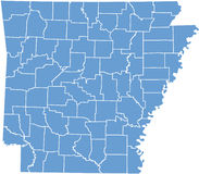Staat Arkansaskarte durch Grafschaften Lizenzfreie Stockbilder