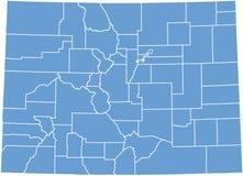 Staat Coloradokarte durch Grafschaften Stockbild