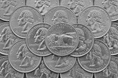Staat de Noord- van Dakota en muntstukken van de V.S. Royalty-vrije Stock Foto