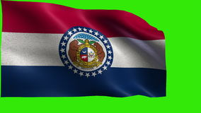 Staat der Vereinigten Staaten von Amerika, USA Staat, Flagge von Missouri MO, Jefferson City Kansas City, am 10. August 1821 - SC stock abbildung