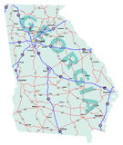 Staat Georgia-zwischenstaatliche Karte Stockbild