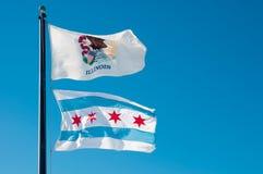 Staat Illinois-Markierungsfahne und Chicago-Stadt-Markierungsfahne Lizenzfreie Stockfotografie