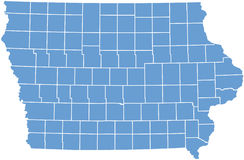 Staat Iowaskarte durch Grafschaften Stockfotos