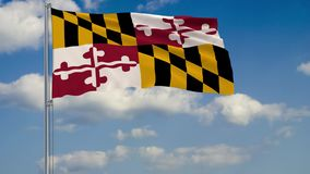 Staat Maryland-Flagge im Wind gegen Wiedergabe des bewölkten Himmels 3d stock abbildung