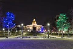 Staat Massachusetts-Haus für Weihnachten stockfoto