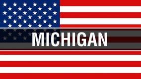 Staat Michigan auf einem USA-Flaggenhintergrund, Wiedergabe 3D Staaten von Amerika fahnenschwenkend im Wind Stolze amerikanische  lizenzfreie abbildung