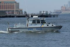 Staat New Jersey-Polizei-Boot Stockbild