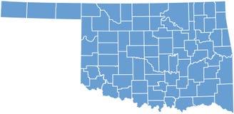 Staat Oklahomakarte durch Grafschaften Stockbild