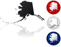 Staat van de Pictogrammen van Alaska Stock Afbeeldingen