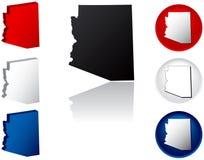 Staat van de Pictogrammen van Arizona Royalty-vrije Stock Foto's