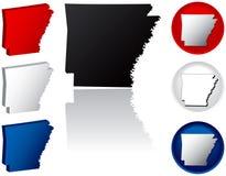 Staat van de Pictogrammen van Arkansas Stock Fotografie