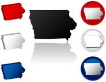Staat van de Pictogrammen van Iowa Stock Afbeeldingen