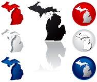 Staat van de Pictogrammen van Michigan Royalty-vrije Stock Fotografie