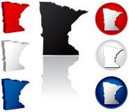 Staat van de Pictogrammen van Minnesota Royalty-vrije Stock Afbeeldingen