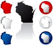 Staat van de Pictogrammen van Wisconsin Stock Fotografie