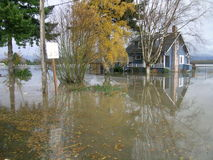 Staat Washington-Überschwemmung - vollständig umgeben von Water Stockfotografie