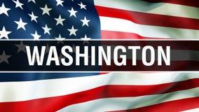 Staat Washington auf einem USA-Flaggenhintergrund, Wiedergabe 3D Staaten von Amerika fahnenschwenkend im Wind Stolze amerikanisch stock abbildung