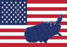 Staaten- von Amerikakarte und Markierungsfahne Stockfotografie