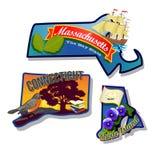 Staats-Tatsachen Illustrationen Massachusetts, Connecticut, Rhode Island Retro- Lizenzfreies Stockfoto