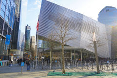 Staatsangehörig-am 11. September Denkmal und Museum am Bodennullpunkt Manhattan MANHATTAN - NEW YORK - 1. April 2017 Stockfoto