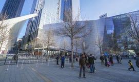 Staatsangehörig-am 11. September Denkmal und Museum am Bodennullpunkt Manhattan MANHATTAN - NEW YORK - 1. April 2017 Lizenzfreie Stockfotos