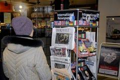 STAATSANGEHÖRIGER UND INT-MEDIEN TERRO IN KOPENHAGEN Stockbild