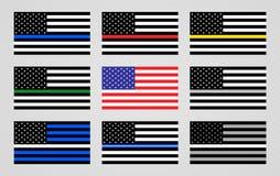 Staatsflagge der USA und der dünnen Linie Flaggen lizenzfreie abbildung