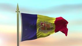 Staatsflagge des Andorras, das in den Wind gegen die Sonnenunterganghimmelhintergrund-Zeitlupe nahtlose Schleife wellenartig bewe stock video