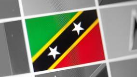 Staatsflagge des Heiligen Kitts und Nevis des Landes Flagge auf der Anzeige, ein digitaler Wässerungseffekt lizenzfreie stockbilder