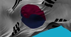Staatsflagge von Südkorea wellenartig bewegend in die Windzeitlupe stock video footage