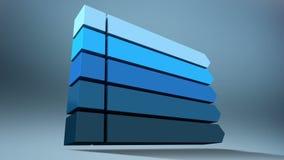 Stab 3D Quadratisches Titelkastendiagramm der Intro fünf, PowerPoint-Darstellungsschablone Version 1 (enthaltenes Alpha) stock abbildung
