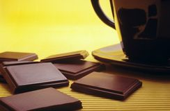 Stab der Schokolade und der heißen Schokolade Lizenzfreie Stockfotos
