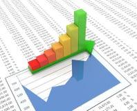 Stab des Fortschritts 3d auf Kalkulationstabellenhintergrund Lizenzfreie Stockbilder