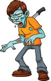 Stabbed cartoon zombie. Vector illustration with simple gradients. All in a single layer Royalty Free Stock Photo