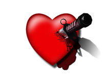 Stabbed Heart. High-resolution 3-D illustration of Stabbed red Heart on white Stock Photos