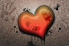 Stabbed heart illustration Royalty Free Stock Photography