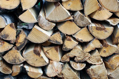Stabel of chopped birch wood Stock Photos