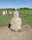 Stabilimento antico di Burana Funerale di pietra della scultura fotografie stock libere da diritti