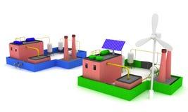 stabilimento chimico 3D con rendimento energetico blu della fabbrica e del recinto con il mulino a vento Immagine Stock Libera da Diritti
