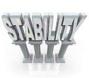 Stabilitäts-Wort-Spalte-große Unterstützung Stockfotos