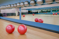Stability exercise balls in gym Stock Images