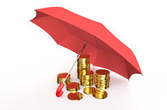 Stability and protection in financial, business  and insurance c. Oncept: stacked golden coins covered by red umbrella isolated on white background Royalty Free Stock Photography