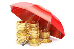 Stability and protection in financial, business and insurance co. Ncept, 3D rendering. Stacked golden coins covered by red umbrella on white background Stock Images