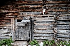 A sheep and goat stable on an austrian alpine pasture royalty free stock photo